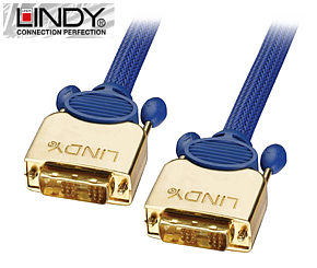 15m Premium Gold DVI Monitor Cable SLD - DVI-D Single Link Lindy 37061