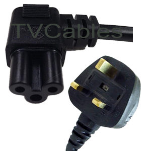 Image of 1.8m Right Angled C5 Cloverleaf to UK Power Cable Ideal for LG TVs