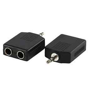 3.5mm Stereo Plug to 2x 6.35mm Stereo Sockets Adapter
