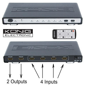 4 x 2 HDMI Matrix Switcher - 4 Input 2 Output HDMI 1.3