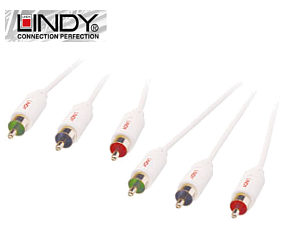5m Component Video Cable - Lindy Premium White 37633