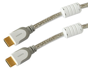 5m Silver HDMI Cable High Speed with Ethernet Gold Plated with Suppressors 1.4