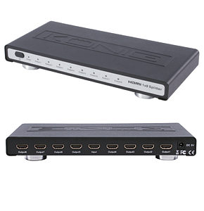8 Way HDMI Splitter Distribution Amplifer 1 x 8