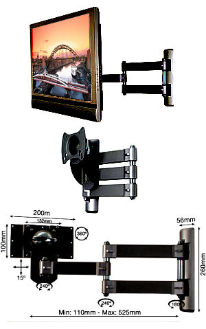 B-Tech BT7515 Black (BT7515B) Articulated TV Wall Mount - VESA 200 x 100