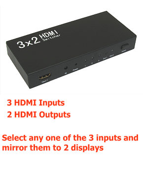 Hdmi Splitter Switch 3 Input 2 Output 3x2
