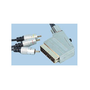 Scart to 3x Phono Cable 1.5m - Stereo Audio & Video