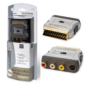 Techlink 680900 WiresCR SCART Plug to 3 x RCA/Phono Plugs + S-Video Adaptor