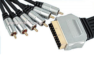 1.5m Scart to 6x Phono Video & Stereo Audio Cable