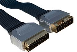 2m Flat Cable Scart to Scart Lead