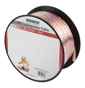 15m Speaker Cable 2 x 1.5mm OFC Transparent Jacket