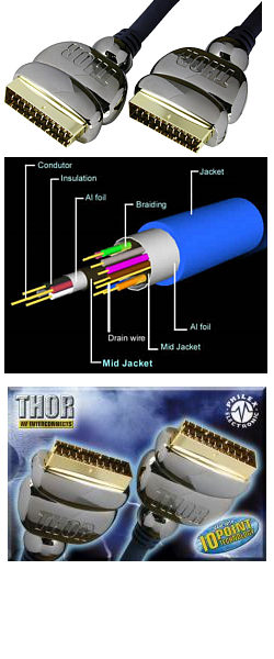 Thor 1.5m Scart Lead by Philex (International Shipping)