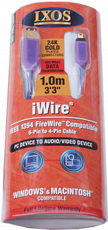 Ixos 1664-100 1.0m Firewire Cable 6-4 (iWire)