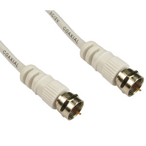 2m White Satellite Cable F-Type Sky Virgin Freesat