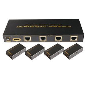 HDMI Over CAT5 4 Way Splitter Kit CAT5/6 Splitter with 4x Receivers 60m