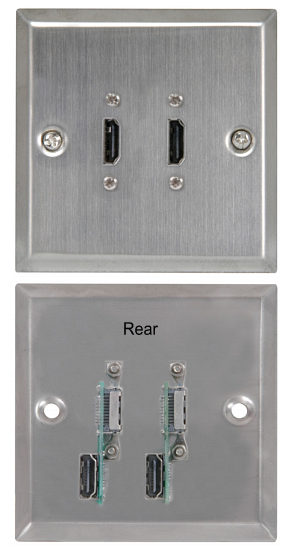 Hdmi Wall Plate Dual Hdmi Brushed Steel Finish With Rear