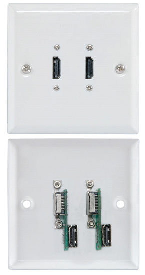 Dual Steel HDMI Wall Plate White Finish with Rear HDMI Connector