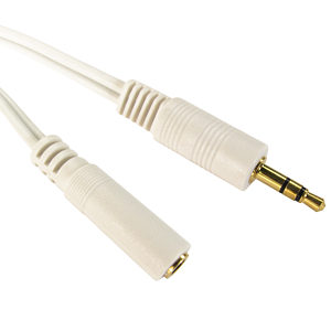 White 3.5mm Male Jack Plug to Female Socket Cable 20m