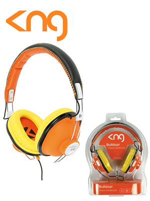 Image of KNG Bulldozr Chaos Construction Orange Headphones KNG-5120
