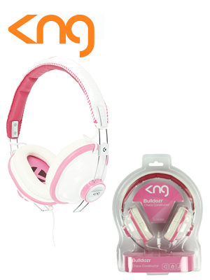 Image of KNG Bulldozr Chaos Construction Pink Headphones KNG-5130