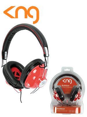Image of KNG Bulldozr Chaos Construction Red Headphones KNG-5110