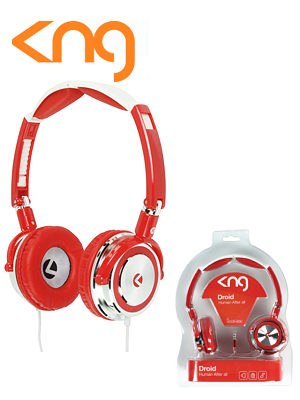 Image of KNG Droid Foldable Headphones Red KNG-5030