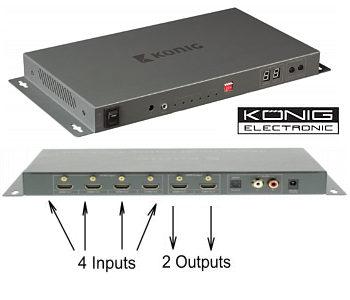 4 x 2 HDMI Matrix Switcher  4 Input 2 Output