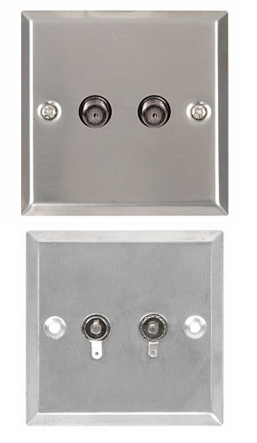 Satellite Wallplate - Steel Finish Twin F Type Connector