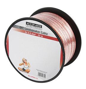 Image of 25m Speaker Cable 2 x 2.5mm OFC Transparent Jacket