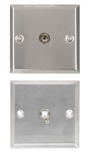 TV Aerial Wallplate  Steel Finish TV Aerial Socket Plate