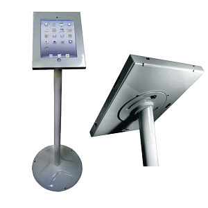 Anti Theft iPad Floor Stand Silver